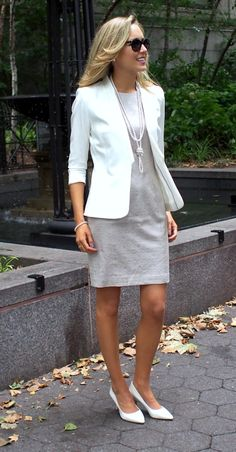 The Classy Cubicle: Tone on Tone. The fashion blog for young professional women who need office style inspiration and work wear ideas for the corporate world and beyond. The dos and don'ts for appropriately suiting up as a female in corporate America. 20s, 30s, 40s, 50s, attire, outfits, beige tan hm dress diamond cut out back, pearls, white michael kors pointed pumps, prada sunglasses.