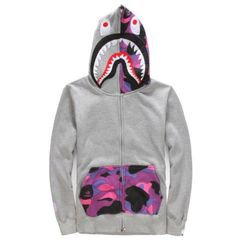 e1982c4dfeeb BAPE Grey and Purple Camo Shark Hoodie Bape Hoodie Woman