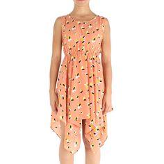 Vestido estampado com elástico na cintura e comprimento assimétrico - Angie