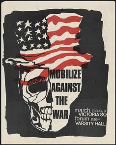 This poster has an American hat above a skull. In addition the borders of the poster are haggard which makes creates a sense of distaste for the picture and consequently the flag. Here we are unsettled by the United States symbol, rather than inspired to allegiance.
