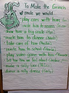 TEACH YOUR CHILD TO READ - How to Make a Grinch Smile- perfect writing prompt for around the holidays! We do Grinch Day at school, this could be a fun writing for it! Super Effective Program Teaches Children Of All Ages To Read. Class Activities, Holiday Activities, Classroom Activities, Preschool Bulletin, Classroom Tools, Classroom Ideas, The Grinch, Preschool Christmas, Grinch Christmas