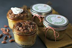 Traditional Pecan Pie in a Jar close up