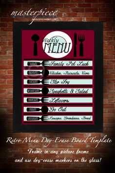DRY ERASE Retro Red Menu Board Template