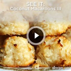 Coconut Macaroons III | These award-winning macaroons are easy to make! http://allrecipes.com/video/1408/coconut-macaroons-iii/detail.aspx