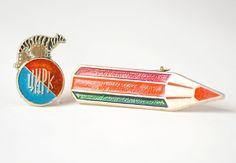 Vintage Soviet pin pencil badge in cyrillic circus by SovietEra