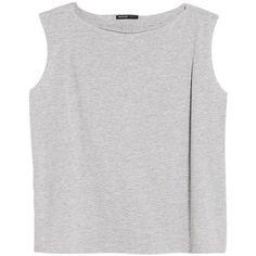 Mango Raw Edge Jersey Top , Pastel Grey ($7.68) ❤ liked on Polyvore featuring tops, shirts, tank tops, crop tops, pastel grey, crop tank, sleeveless tank tops, gray shirt, no sleeve shirts and loose shirts