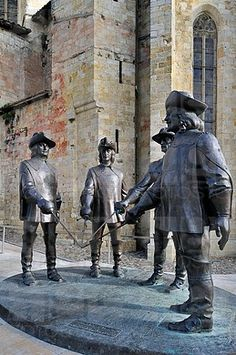 Statue of d'Artagnan and The Three Musketeers at Condom, Pyrenees, France.