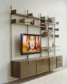 Atlas AS4 Wall Mounted TV Stand, Home Office, and Library Shelving System