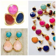 Pendientes y anillos máxi con piedras semipreciosas  y rematados en baño de oro!