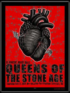 EMEKx: Queens of the Stone Age at the Merriweather Post Pavilion Colubmia, MD IMAGE: skeleton angel and devil tug on anatomical black heart strings, background red with gray skeleton sperms swim in pattern