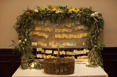 Our vintage frame holds up to 100 name tags for your card table. Complete with a stunning eucalyptus garland, this will make your guests SWOON!