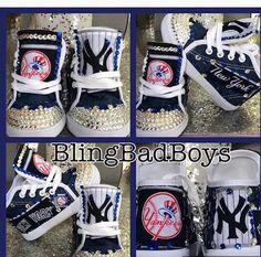 2aab8a4ea NY Yankees Sneakers Inspired By New York Yankees NY Yankees NY High  Tops Team Sneakers Nueva York Yankees Tenis Bling Kicks Boys Bling Kicks