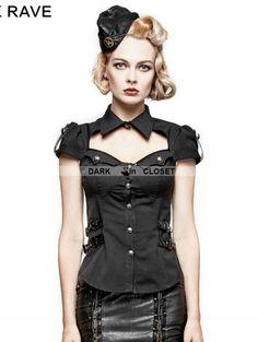 Punk Rave Black Gothic Military Uniform Short Shirt for Women