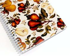 Pears and Blossoms Spiral Notebook 5 x 7 by Ciaffi on Etsy, $14.00
