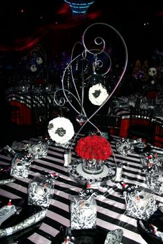 I don't like the theme at all, but I like the layout and design of the centerpieces and tables