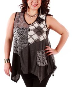Take a look at the Lily Black & Gray Crochet Patchwork Sleeveless Tunic - Plus on #zulily today!