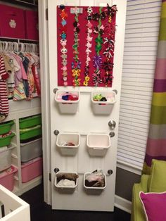 I like the idea of the Ikea Trofast system in the closet.  GREAT storage when we don't have room for a big dresser in Harper's room.