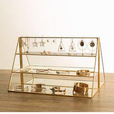 1 PC Brass Glass Three tier Display Jewelry Bracelet Earrings Counter Shelf Cosmetics Storage-in Storage Holders & Racks from Home & Garden on Aliexpress.com | Alibaba Group