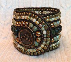 Earthtone 5 Row Leather Wrap Bracelet Cuff by TwinklingOfAnEye
