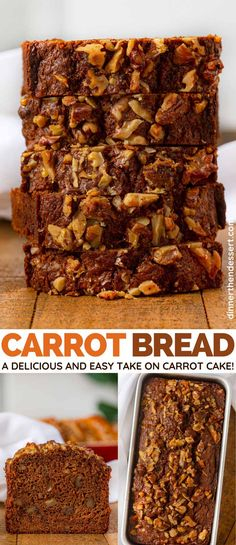 Bread is a delicious and easy take on carrot cake that's perfect for brunch, dessert or gifting!Carrot Bread is a delicious and easy take on carrot cake that's perfect for brunch, dessert or gifting! Loaf Recipes, Carrot Recipes, Easy Cake Recipes, Baking Recipes, Dessert Recipes, Desserts, Carrot Cake Bread, Healthy Carrot Cakes, Carrot Bread Recipe Healthy