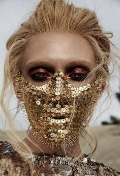 Caroline Wilson Beauty Shoot Metallic Eyeshadow Thumbtack Mask | NEW YORK FASHION BEAUTY PHOTOGRAPHER- EDITORIAL COMMERCIAL ADVERTISING PHOTOGRAPHY