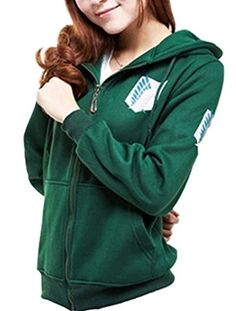 Eva's Eye Attack on Titan Shingeki No Kyojin the Survey Corps Eren Cosplay Hoodie Blouse Green Small * Want additional info? Click on the image.