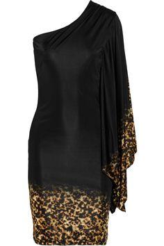 Roberto Cavalli - Black One-shoulder Satin-jersey Dress Animal Print Fashion, Fashion Prints, Animal Prints, Short Fitted Dress, Fitted Dresses, Dress Long, Short Dresses, Vestido Dress, Partys