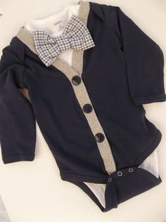 Cardigan onesie Grey gingham Onesie For a Handsome Young Man
