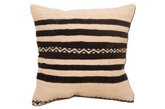 Black And White Kilim Pillow Throw Pillow by TheOrientBazaar