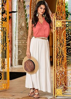 Pack your suitcase with new travel-ready styles! Shop our Old Havana Collection today. Venus pocket detail maxi skirt with Venus draped sleeveless shirt, Venus lace up gladiator sandal, Venus panama hat and Venus medallion drop earrings.