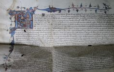 Licence by letters patent of King Richard II to alienate Weedon Pinkney priory to the Abbey of Billesden. The impressive illuminations make use of gold leaf.