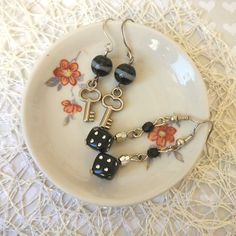 Gothic Key game on dices Earrings babies jewelry set zipper Keychain White bag charm Las Vegas jewelry role play gaming birthday girls gift