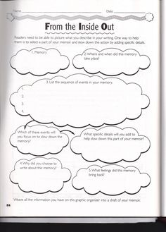 memoir graphic organizer | Personal Memoir Writing Assignment.pdf
