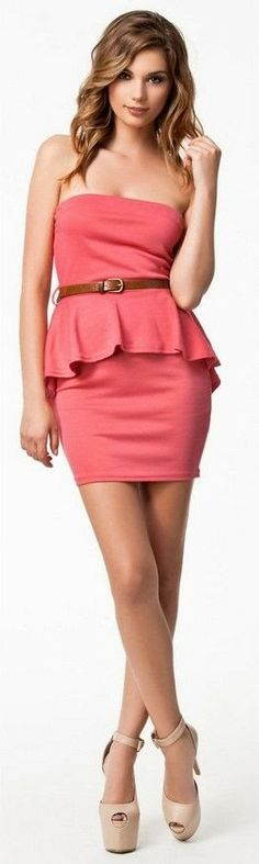 Strapless Single Tone Dress Click for more