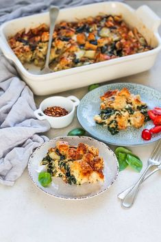 Swiss Chard and Gruyere Strata is a make-ahead vegetarian breakfast casserole th. Vegetarian Breakfast Casserole, Breakfast Bake, Basic Deviled Eggs Recipe, Tasty Vegetarian Recipes, Vegan Main Dishes, Gluten Free Dinner, Feeding A Crowd, My Favorite Food, Freeze