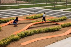 Bridged Gardens, China. balance beam over permeable surface.