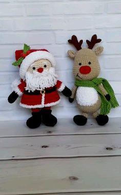 Amigurumi Santa Claus and Reindeer – Set of 2 PDF Crochet Patterns Christmas Santa Toy Gift Xmas Amigurumi Toy Pattern Crochet Reindeer toy – Toys Ideas Crochet Christmas Decorations, Christmas Crochet Patterns, Crochet Toys Patterns, Amigurumi Patterns, Stuffed Toys Patterns, Crochet Crafts, Crochet Dolls, Crochet Projects, Christmas Crafts