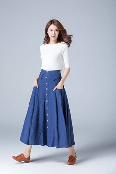 Polka dot blue linen skirt from Xiaolizi. The A line button skirt made from a blue fabrication in a fitted construction. The pleated skirt topped with a high-ri Linen Skirt, Pleated Skirt, Dress Skirt, Midi Skirt, High Waisted Skirt, Shirt Skirt, Denim Skirt Outfits, Outfits Casual, Long Denim Skirts