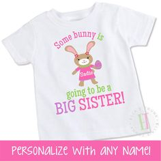 Easter big sister shirt  personalized Easter bunny by ellastrunk
