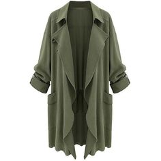 Chartou Women's Asymmetric Oversized Open-Front Lightweight Duster... (€23) ❤ liked on Polyvore featuring tops, cardigans, jackets, outerwear, green cardigan, lightweight open front cardigan, oversized tops, cardigan top and green top