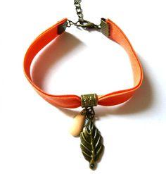 Bracelet Biais Orange et Feuille par henne