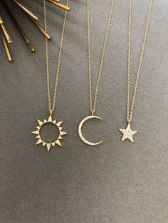 Celestial Sun Moon Necklace Sun necklace Moon necklace Moon and Sun Dainty Minimalist Jewelry Moon and sun gift for her Dainty Jewelry, Cute Jewelry, Jewelry Accessories, Jewelry Design, Jewelry Ideas, Dainty Necklace, Jewelry Quotes, Gothic Jewelry, Pandora Necklace