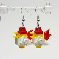 Mini LEGO Chicken Dangle Earrings by FoldedFancy on Etsy, $16.00