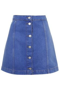 Button through denim skirts are one of the SS15 hits - make it work appropriate with black tights and a white shirt.
