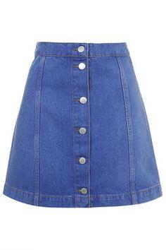 MOTO Bright Blue Button Front A-Line Skirt