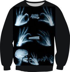 New 2016 3D Print Fashion Clothes Hand And Head Skull Smoking Sweatshirts Crewneck Sweats Pullover Tops Women Men Fleece Hoodies