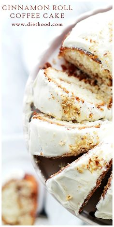 Cinnamon Roll Coffee Cake | www.diethood.com | All the beautiful flavors of a Cinnamon Roll in a delicious and crumbly coffee cake topped with a sweet Lemon Cream Cheese Frosting.