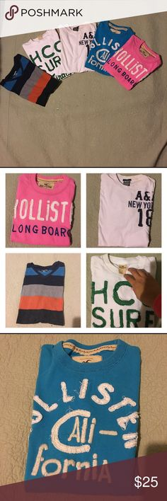 Bundle of Men's Tees Five Men's Tees two have wear marks show on last picture never tried to take them off all in great condition Brands Hollister, Abercrombie,Carbon! All size Small!! Hollister Shirts Tees - Short Sleeve