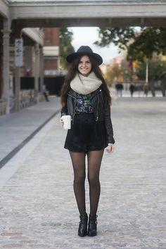 Asos Hat, Asos Scarf, Zara Shirt, Asos Shorts, H&M Jacket, Asos Boots