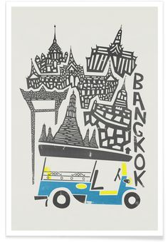 Fox and Velvet invite you to a world tour of emblematic cities, in a naïve and minimalist graphic style. Here a design of Bangkok capital city of Thailand. Art-Poster and prints published by Wall Editions. Illustration Format : 50 x 70 cm Bangkok, Thailand Art, Poster Online, Plakat Design, Cityscape Art, Tinta China, Kunst Poster, Travel Drawing, Poster Prints
